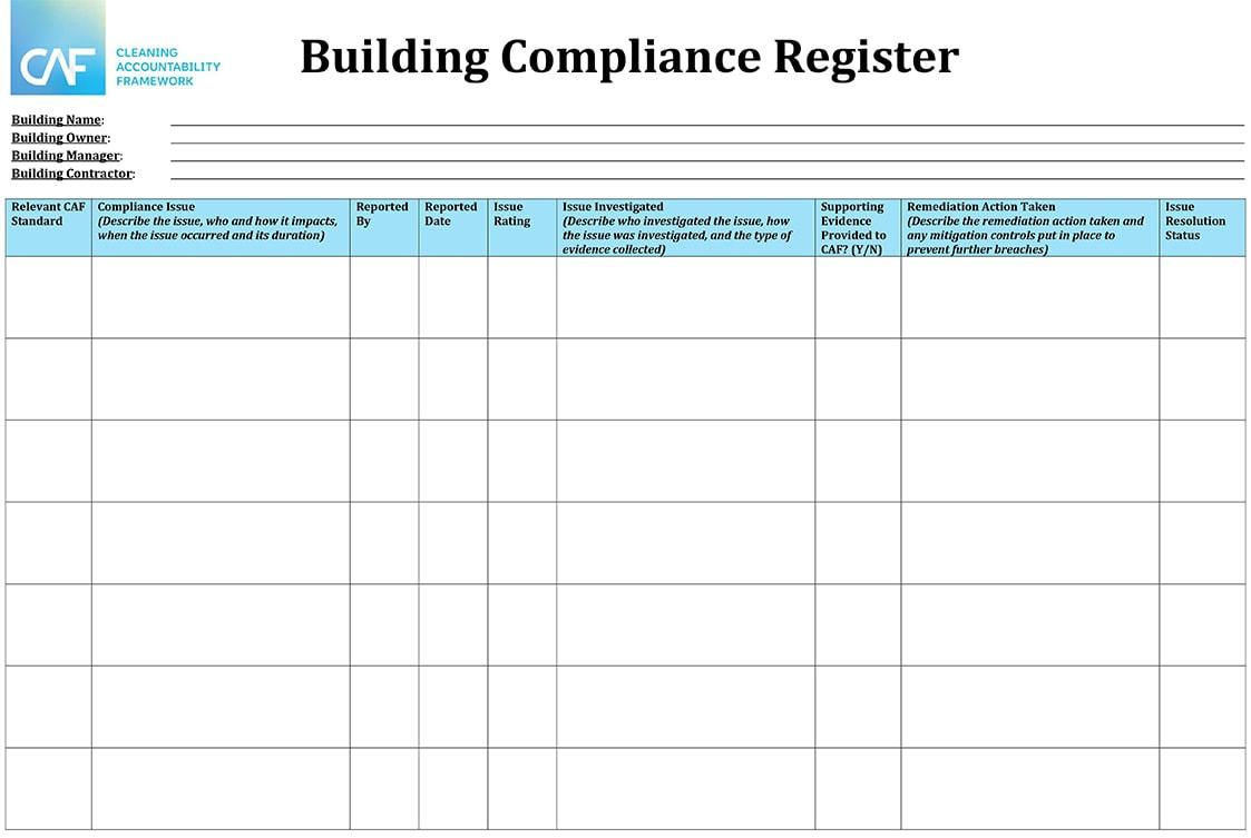 CAF Building Compliance Register