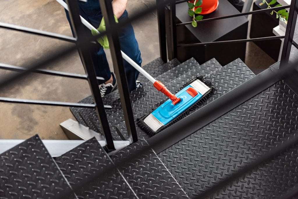 cropped view of cleaner washing stairs with mop SXHPS6U LR